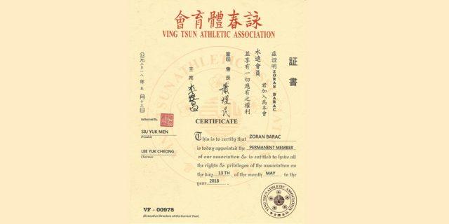 Dr. Zoran Barac primljen je u članstvo Ving Tsun Atletske Asocijacije